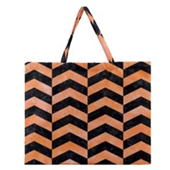 Chevron2 Black Marble & Orange Watercolor Zipper Large Tote Bag by trendistuff