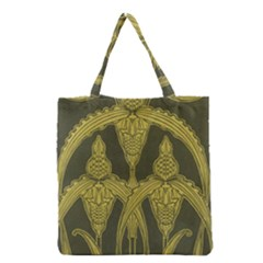 Green Floral Art Nouveau Grocery Tote Bag by 8fugoso