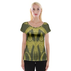 Green Floral Art Nouveau Cap Sleeve Tops by 8fugoso