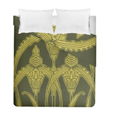 Green Floral Art Nouveau Duvet Cover Double Side (full/ Double Size) by 8fugoso