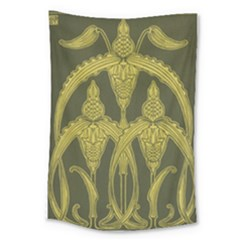 Green Floral Art Nouveau Large Tapestry