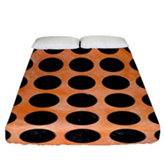 Circles1 Black Marble & Orange Watercolor Fitted Sheet (king Size) by trendistuff