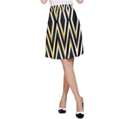 Gold,black,art Deco Pattern A Line Skirt by 8fugoso