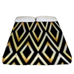 Gold,black,art Deco Pattern Fitted Sheet (king Size) by 8fugoso