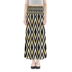 Gold,black,art Deco Pattern Full Length Maxi Skirt by 8fugoso
