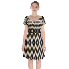 Gold,black,art Deco Pattern Short Sleeve Bardot Dress by 8fugoso