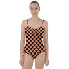 Circles2 Black Marble & Orange Watercolor (r) Sweetheart Tankini Set