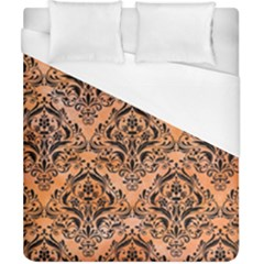 Damask1 Black Marble & Orange Watercolor Duvet Cover (california King Size) by trendistuff
