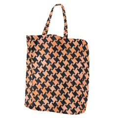 Houndstooth2 Black Marble & Orange Watercolor Giant Grocery Zipper Tote by trendistuff
