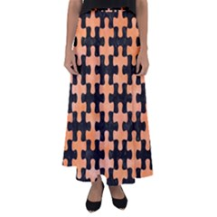 Puzzle1 Black Marble & Orange Watercolor Flared Maxi Skirt
