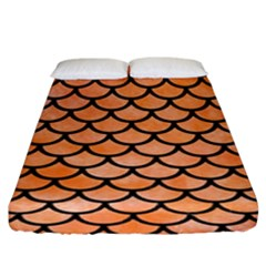 Scales1 Black Marble & Orange Watercolor Fitted Sheet (king Size)