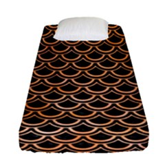 Scales2 Black Marble & Orange Watercolor (r) Fitted Sheet (single Size) by trendistuff