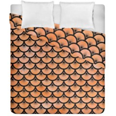 Scales3 Black Marble & Orange Watercolor Duvet Cover Double Side (california King Size) by trendistuff
