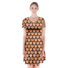 Scales3 Black Marble & Orange Watercolor Short Sleeve V Neck Flare Dress by trendistuff