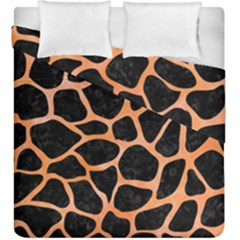 Skin1 Black Marble & Orange Watercolor Duvet Cover Double Side (king Size) by trendistuff