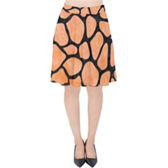 Skin1 Black Marble & Orange Watercolor (r) Velvet High Waist Skirt by trendistuff
