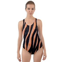 Skin3 Black Marble & Orange Watercolor (r) Cut Out Back One Piece Swimsuit