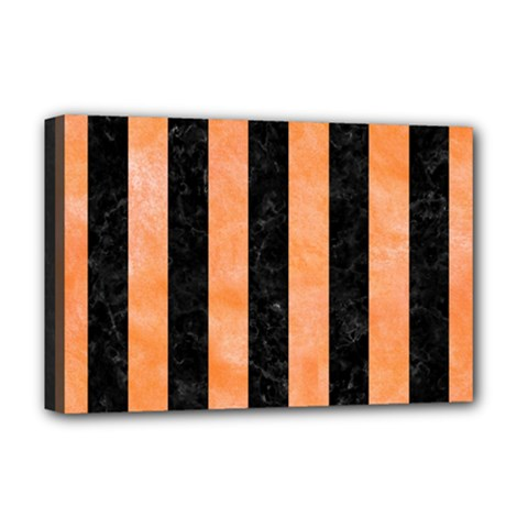 Stripes1 Black Marble & Orange Watercolor Deluxe Canvas 18  X 12   by trendistuff