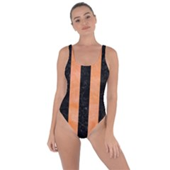 Stripes1 Black Marble & Orange Watercolor Bring Sexy Back Swimsuit
