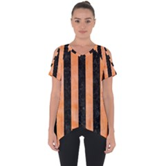Stripes1 Black Marble & Orange Watercolor Cut Out Side Drop Tee