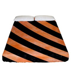 Stripes3 Black Marble & Orange Watercolor Fitted Sheet (king Size) by trendistuff