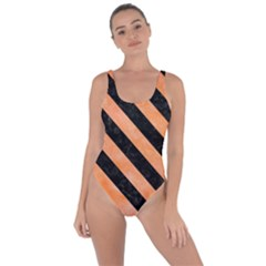 Stripes3 Black Marble & Orange Watercolor Bring Sexy Back Swimsuit