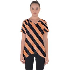 Stripes3 Black Marble & Orange Watercolor Cut Out Side Drop Tee