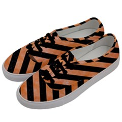 Stripes3 Black Marble & Orange Watercolor Men s Classic Low Top Sneakers by trendistuff
