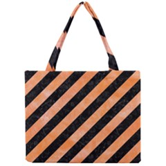 Stripes3 Black Marble & Orange Watercolor (r) Mini Tote Bag by trendistuff