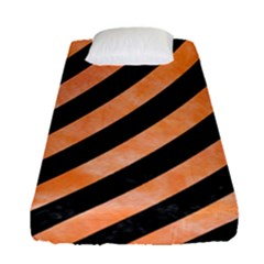 Stripes3 Black Marble & Orange Watercolor (r) Fitted Sheet (single Size) by trendistuff