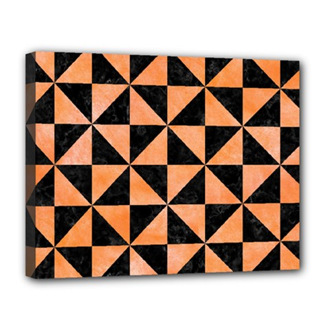 Triangle1 Black Marble & Orange Watercolor Canvas 14  X 11  by trendistuff