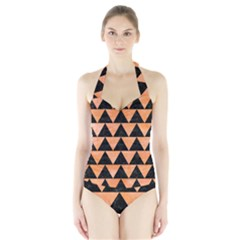 Triangle2 Black Marble & Orange Watercolor Halter Swimsuit