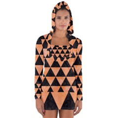Triangle3 Black Marble & Orange Watercolor Long Sleeve Hooded T Shirt