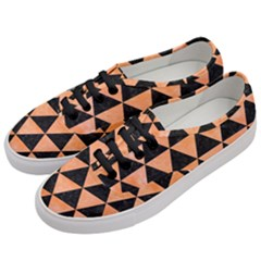 Triangle3 Black Marble & Orange Watercolor Women s Classic Low Top Sneakers by trendistuff