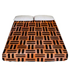 Woven1 Black Marble & Orange Watercolor Fitted Sheet (california King Size) by trendistuff