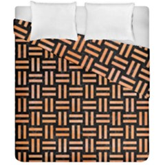 Woven1 Black Marble & Orange Watercolor (r) Duvet Cover Double Side (california King Size) by trendistuff