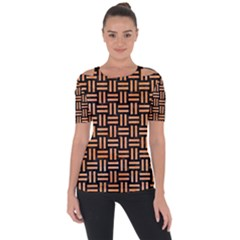 Woven1 Black Marble & Orange Watercolor (r) Short Sleeve Top by trendistuff