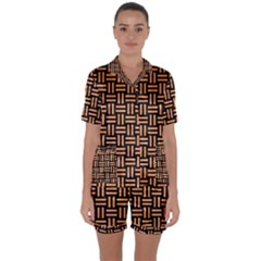 Woven1 Black Marble & Orange Watercolor (r) Satin Short Sleeve Pyjamas Set by trendistuff