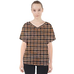 Woven1 Black Marble & Orange Watercolor (r) V Neck Dolman Drape Top