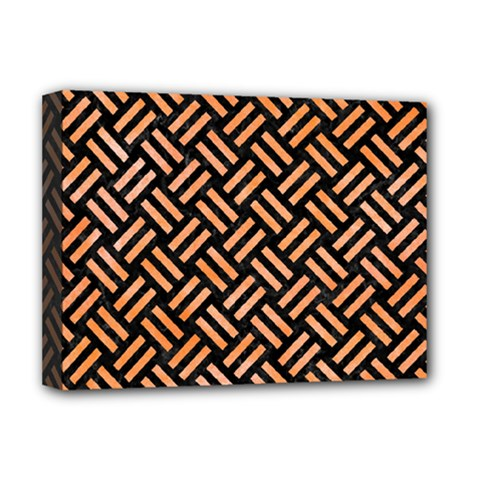 Woven2 Black Marble & Orange Watercolor (r) Deluxe Canvas 16  X 12   by trendistuff