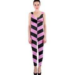Chevron1 Black Marble & Pink Colored Pencil Onepiece Catsuit by trendistuff