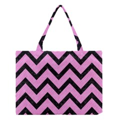 Chevron9 Black Marble & Pink Colored Pencil Medium Tote Bag by trendistuff