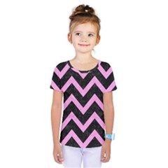 Chevron9 Black Marble & Pink Colored Pencil (r) Kids  One Piece Tee