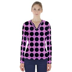 Circles1 Black Marble & Pink Colored Pencil V Neck Long Sleeve Top