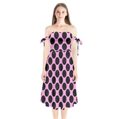 Circles2 Black Marble & Pink Colored Pencil Shoulder Tie Bardot Midi Dress by trendistuff