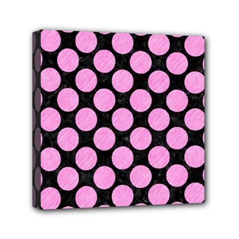 Circles2 Black Marble & Pink Colored Pencil (r) Mini Canvas 6  X 6  by trendistuff