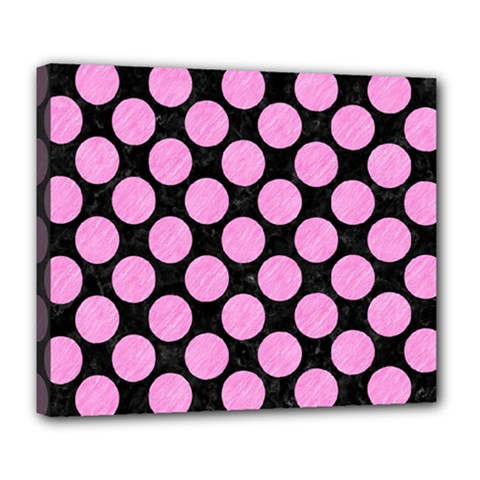 Circles2 Black Marble & Pink Colored Pencil (r) Deluxe Canvas 24  X 20   by trendistuff