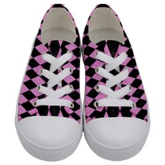 Diamond1 Black Marble & Pink Colored Pencil Kids  Low Top Canvas Sneakers