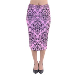 Damask1 Black Marble & Pink Colored Pencil Velvet Midi Pencil Skirt by trendistuff
