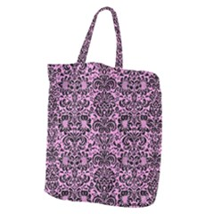 Damask2 Black Marble & Pink Colored Pencil Giant Grocery Zipper Tote by trendistuff